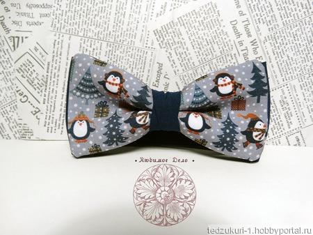 """Галстук бабочка """"Пингвины"""" ручной работы на заказ"""