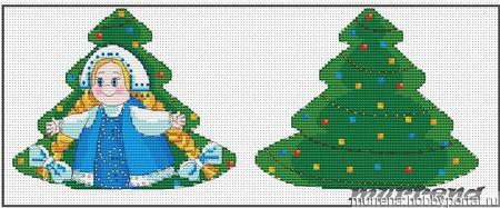 Авторская схема для вышивки крестом.Игрушка Снегурочка ручной работы на заказ