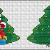 Авторская схема для вышивки крестом.Игрушка на елку Дед Мороз
