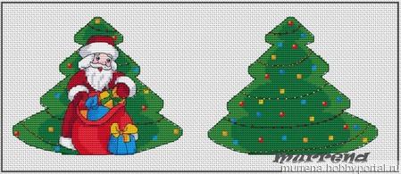 Авторская схема для вышивки крестом.Игрушка на елку Дед Мороз ручной работы на заказ