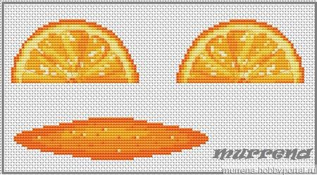 Авторская схема для вышивки крестом.Апельсиновая долька. Игрушка, маячок. ручной работы на заказ