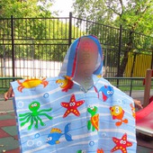 Пончо полотенце с капюшоном вафельное детское