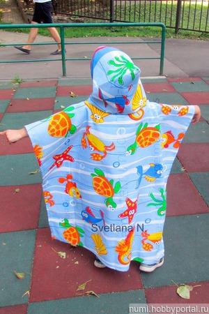 Пончо полотенце с капюшоном вафельное детское ручной работы на заказ