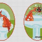 """Авторская схема для вышивки крестом """"Комплект для ванной и туалета"""""""