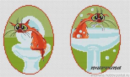 """Авторская схема для вышивки крестом """"Комплект для ванной и туалета"""" ручной работы на заказ"""