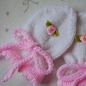 Рукавички вязанные для новорожденных. Для малышей.
