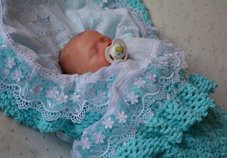 """Детский плед. Плед для новорожденного. """"Лазурное облачко"""" ручной работы на заказ"""