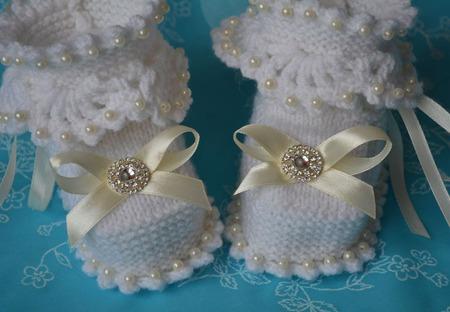 """Пинетки для новорожденного """"нежные прикосновения"""". Пинетки вязанные. ручной работы на заказ"""