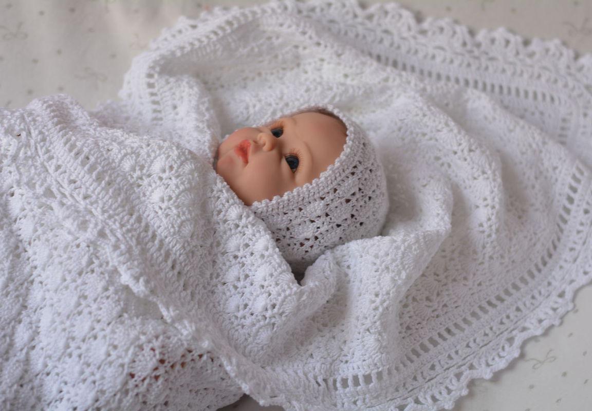 Плед для новорожденного. Вязанный плед крючком. плед на ...