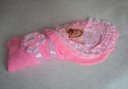 """Плед-одеяло  для новорожденного """"Сладкие сны"""" розовый ручной работы на заказ"""