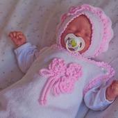 """Комплект для новорожденного  """"лапочка"""" шапочка, комбинезон и пинетки"""