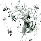 """Схема для вышивки крестом """"Девочка и пчелы"""""""