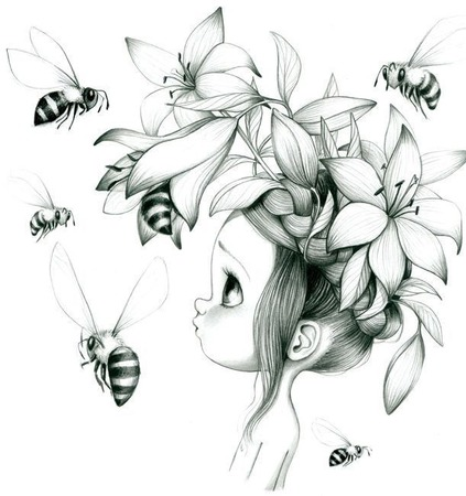 """Схема для вышивки крестом """"Девочка и пчелы"""" ручной работы на заказ"""