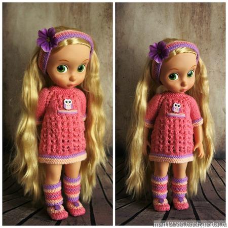 Вязанные платья для кукол Дисней Аниматос 40 см. ручной работы на заказ