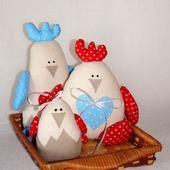 Игрушки из ткани - семья петушков