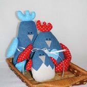 Игрушки текстильные - семья петушков