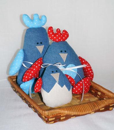 Игрушки текстильные - семья петушков ручной работы на заказ