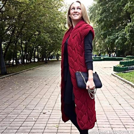 Модный вязаный кардиган (жилет) без рукавов ручной работы на заказ