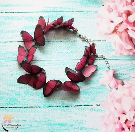 """Колье """"Marsala butterflies"""" колье с бабочками ручной работы на заказ"""