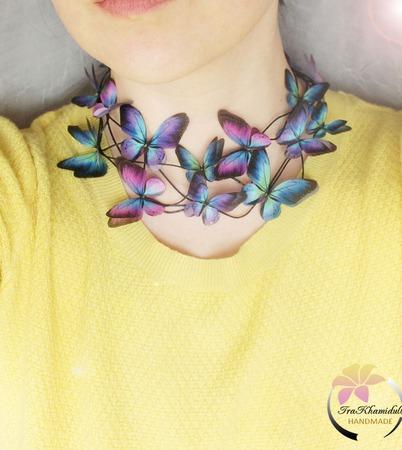 """Колье """"Cosmic butterfly""""колье с бабочками ручной работы на заказ"""