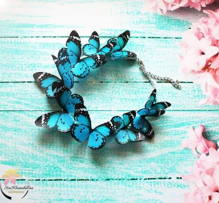"""Колье """"Turquoise butterflies""""  колье с бабочками ручной работы на заказ"""