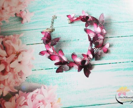 """Колье """"My butterflies """" колье с бабочками ручной работы на заказ"""