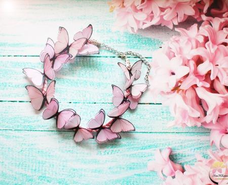 """Колье """" Rosali колье с бабочками ручной работы на заказ"""