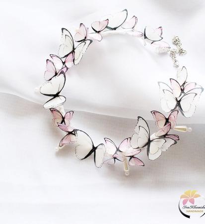 "Колье ""Pearl butterflies"" колье с бабочками ручной работы на заказ"