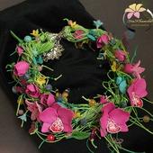 """Колье """"Madgenta Orchid"""" с цветами из полимерной глины"""