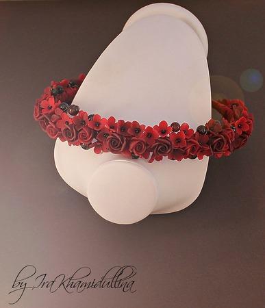 """""""Caberne"""" ободок, обруч, диадема с цветами с камнями ручной работы на заказ"""