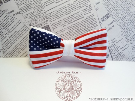 "Галстук-бабочка  ""Американский флаг"" ручной работы на заказ"