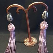 Серьги-кисти из бисера и кристаллов