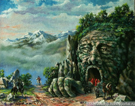 """В горах"" масляная живопись ручной работы на заказ"