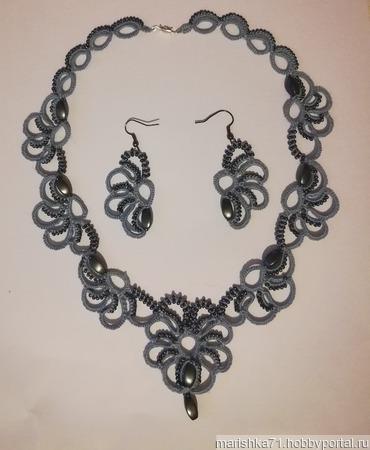 """Ожерелье с серьгами """"Сумерки"""" ручной работы на заказ"""