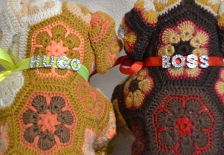 Бульдоги HUGO и BOSS. Африканский цветок ручной работы на заказ