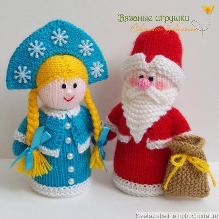 """""""Дедушка Мороз и Снегурочка"""" вязаные игрушки ручной работы на заказ"""