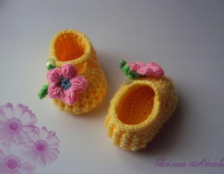 Пинетки- туфельки желтые для девочки ручной работы на заказ