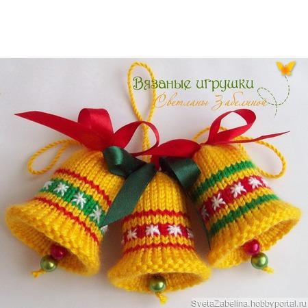 """""""Разноцветные колокольчики"""" вязаные новогодние сувениры ручной работы на заказ"""