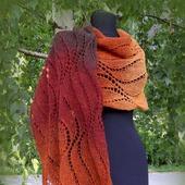 Большой шарф. Вязаный спицами палантин. Каштановая осень