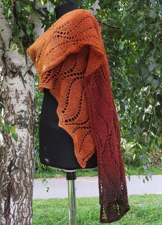 Большой шарф. Вязаный спицами палантин. Каштановая осень ручной работы на заказ