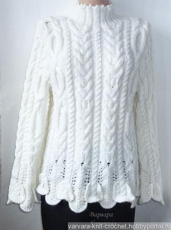 Белый вязаный свитер ручной работы на заказ