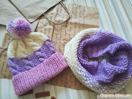 Комплект: шапка и снуд ручной работы на заказ