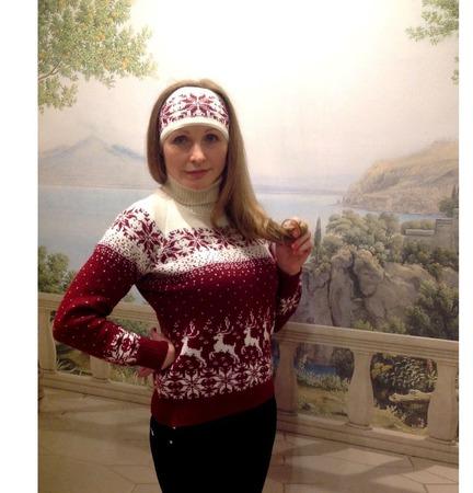 Свитер с норвежским орнаментом и оленями Лесной олень ручной работы на заказ