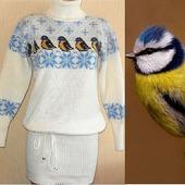 Платье - свитер вязаное Птичка синичка
