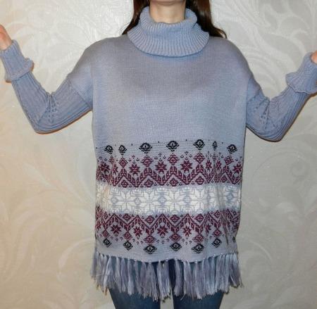 Вязаный свитер оверсайз (пончо) с норвежским орнаментом Звездопад ручной работы на заказ