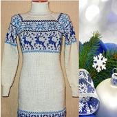 Вязаное платье-свитер Снегурочка с оленями и норвежским орнаментом