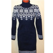 Платье-свитер вязаное Звездопад с  норвежским орнаментом