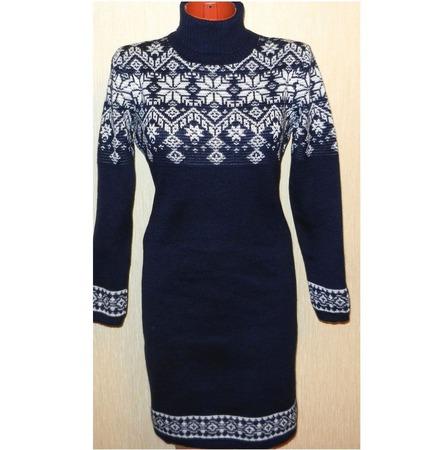 Платье-свитер вязаное Звездопад с  норвежским орнаментом ручной работы на заказ