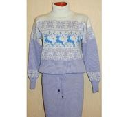 Платье - свитер вязаное Зима с оленями и норвежским орнаментом