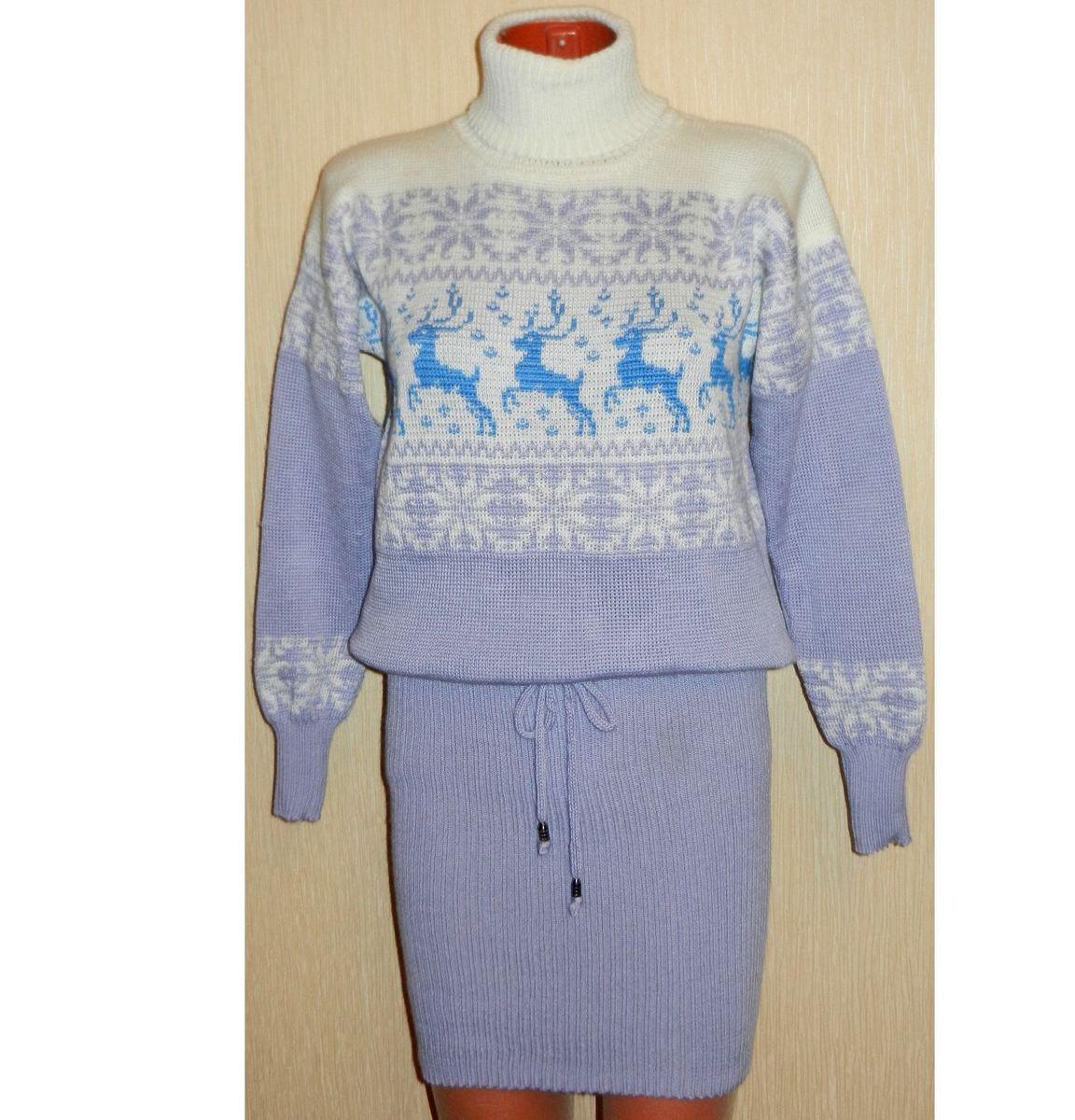 473e1d80a37 Платье - свитер вязаное Зима с оленями и норвежским орнаментом ручной  работы на заказ